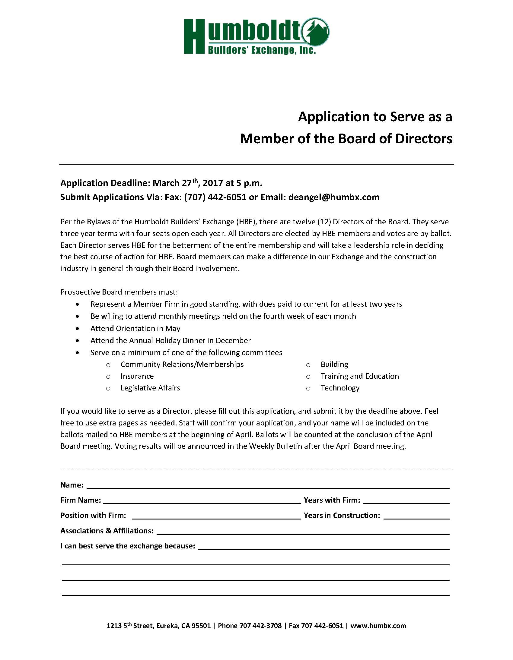 Application for Board of Directors